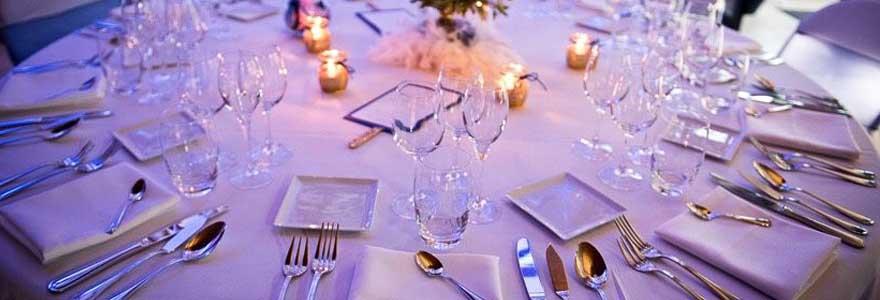 vaisselle pour réception de mariage
